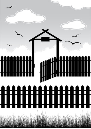 front or back yard: Black fence with gate - elements for design Illustration