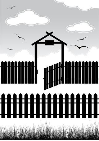 Black fence with gate - elements for design Illustration