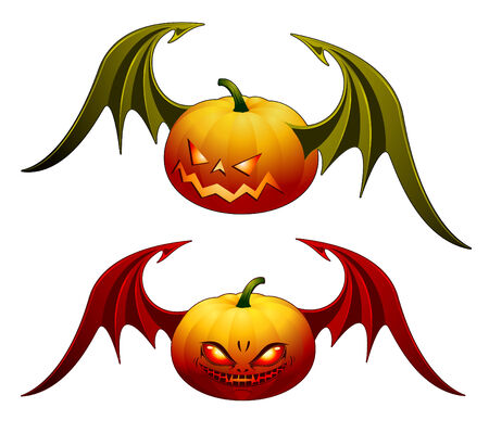 Smiling Halloween pumpkins with wings - isolated on white Vector