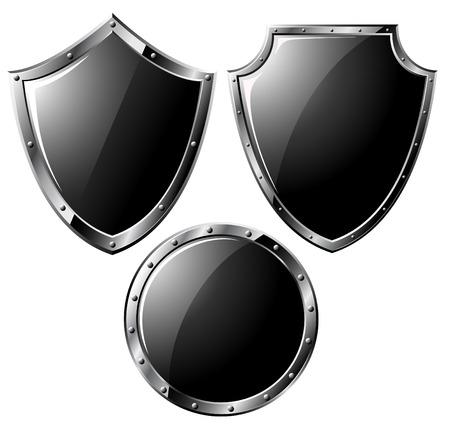 on metal: Conjunto de escudos de acero negros - aislados en blanco  Vectores