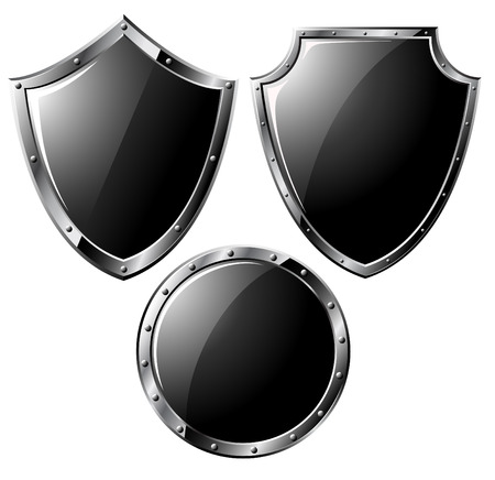 military shield: Set of black steel shields - isolated on white