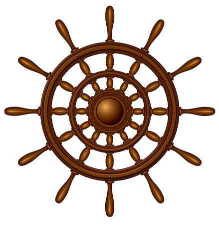 ship captain: Steering wheel - isolated on white Illustration