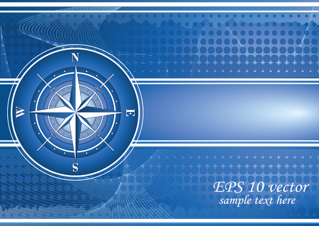 Blue background with compass rose.