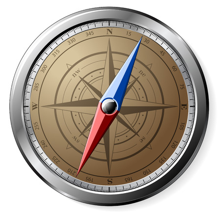 Steel detailed compass isolated on white Stock Vector - 8106609