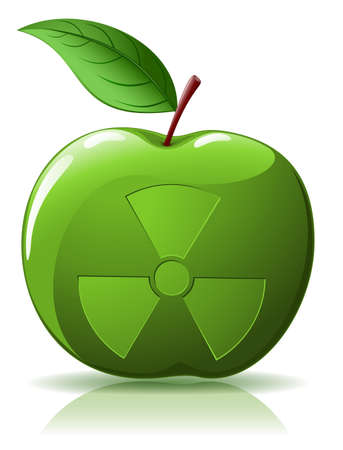 Green apple with nuclear sing isolated  on white Vector