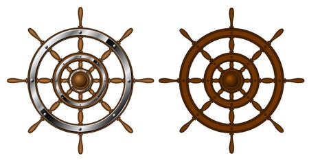 roer: Twee stuur wielen - geïsoleerd op wit