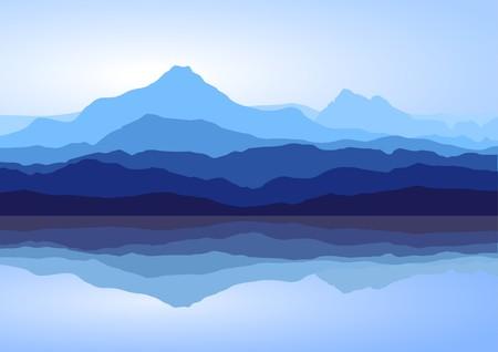 Vista de las montañas azules con la reflexión en el lago  Ilustración de vector