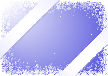 Frame from snowflakes on blue background with ribbons Stock Vector - 8192382