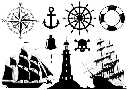 pirata: Conjunto de iconos n�utico aislados sobre fondo blanco