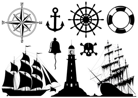 ancient ships: Set of Nautical Icons isolated on white background