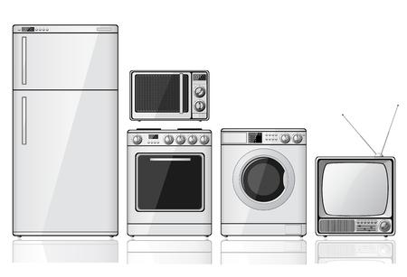 Instalar los aparatos electrodomésticos realistas sobre fondo blanco