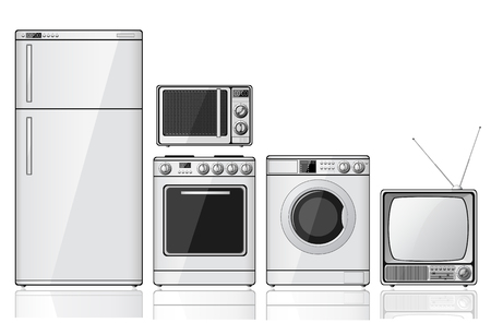 Set of realistic household appliances over white background Illustration