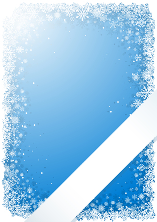 Frame from snowflakes on blue background with ribbon Vector