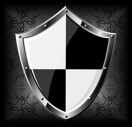 caballero medieval: Escudo de acero sobre un fondo transparente oscuro Vectores