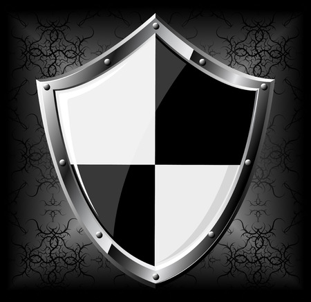 medieval banner: Steel shield over dark seamless background