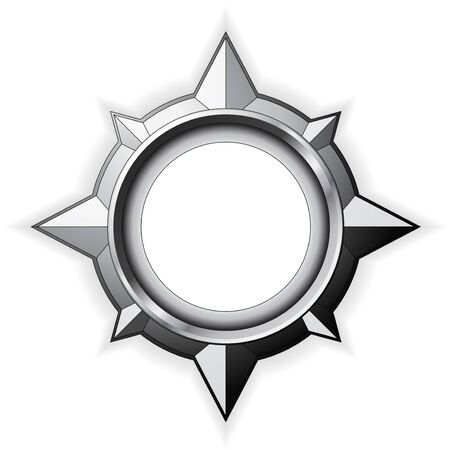 Steel detailed compass rose isolated on white
