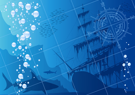 compass rose: Underwater background with sharks, old ship and compass rose