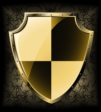 military shield: Gold shield over dark seamless background Illustration