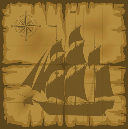 old map with image of large ship and compass rose. illustration