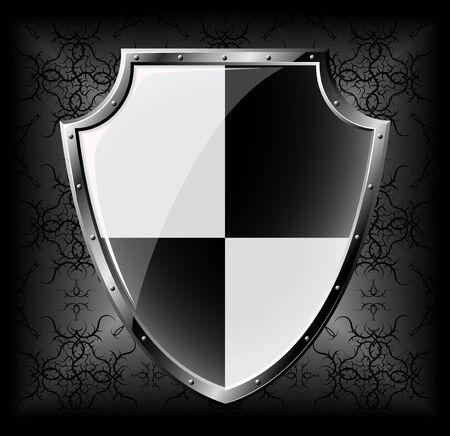 Steel shield over dark seamless background