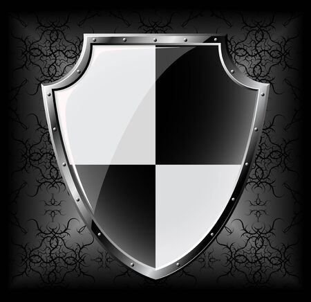 military shield: Steel shield over dark seamless background