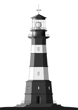port: detailed lighthouse isolated on white Illustration