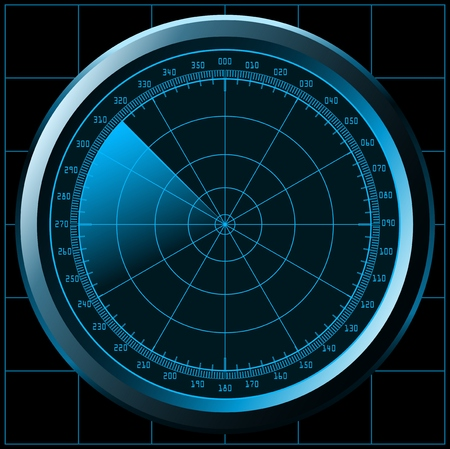 detect: Radar screen (sonar) Illustration
