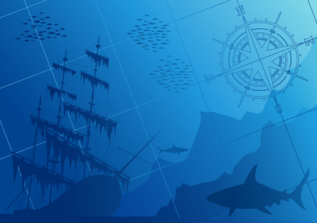 Underwater background with sharks, old ship and compass rose Vector