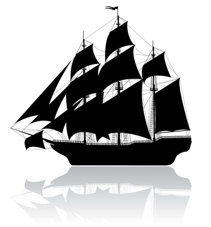 ship icon: Black old ship isolated on white background