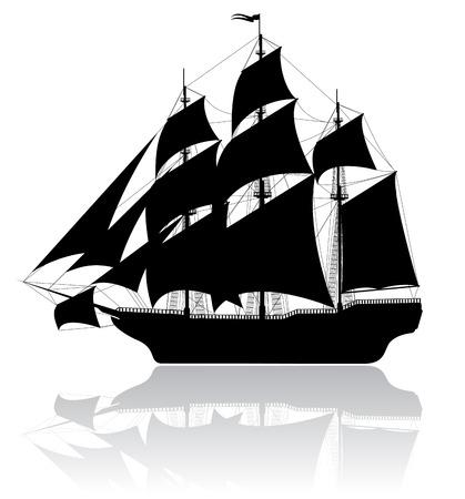sailing vessel: Negro viejo barco aislado sobre fondo blanco