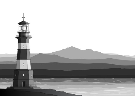 Landscape with detailed lighthouse, mountains and sea Vector