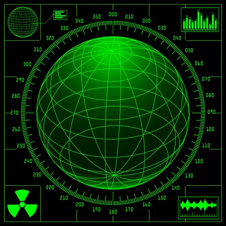 radiacion: Pantalla de radar con el mundo digital y escala. Vectores