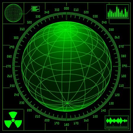 Radar screen with digital globe and scale. 矢量图像