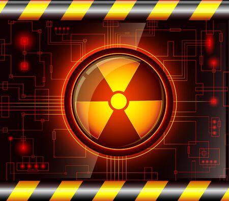 Brillante botón con el signo de la radiación.EPS10. Todos los elementos transparentes se pudieran quitar fácilmente.