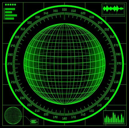 Radar screen. Digital globe with scale. 矢量图像
