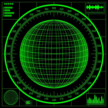 Radar screen. Digital globe with scale. Illustration