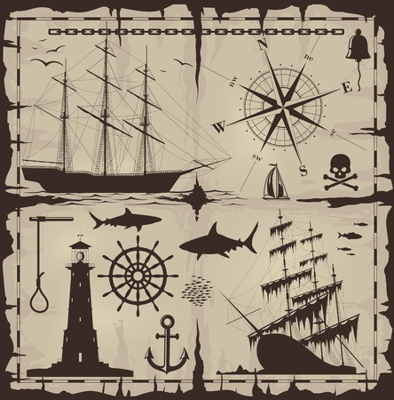 Set of nautical design elements. No trace. All images could be easy modified. Vector