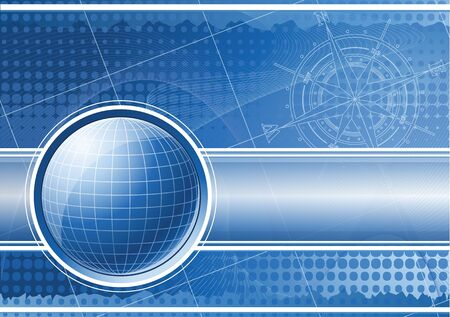 Blue background with globe and compass rose. EPS 10 Stock Photo - 9459436