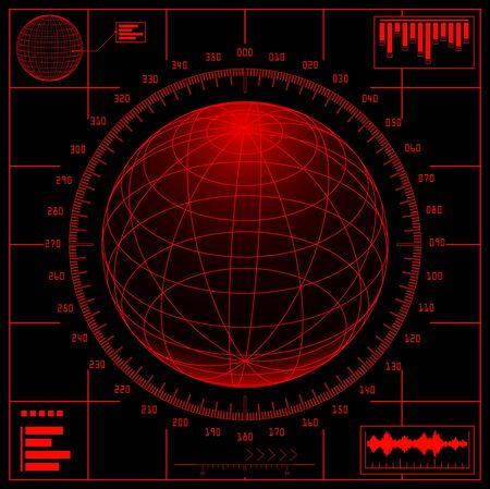 visual screen: Radar screen. Digital globe with scale. Illustration