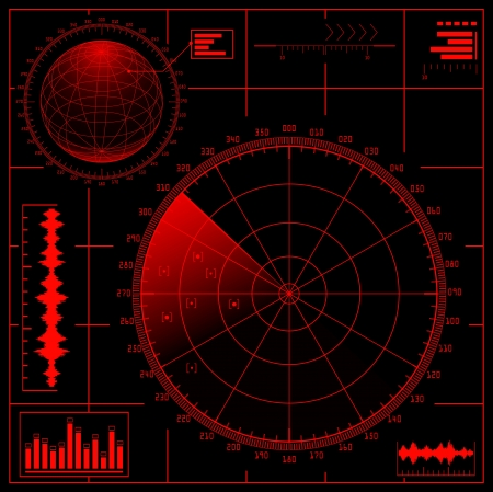 Digital Radar screen with globe.