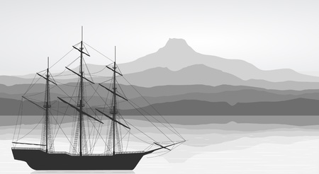 Landscape with detailed old ship and mountains view. Black and white illustration. Vector