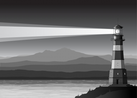 Night  landscape with detailed lighthouse, mountains and sea Vector