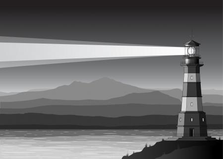 lighthouse at night: Paisaje nocturno con Faro detallada, monta�as y el mar Vectores