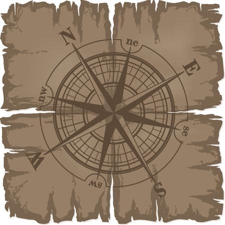 compas de dibujo: Antiguo hab�an da�ado hoja de papel con br�jula rose. ilustraci�n aislada sobre fondo blanco.