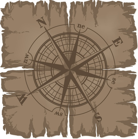 defective: Old damaged sheet of paper with compass rose. illustration isolated on white background.