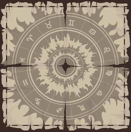 Old damaged sheet of paper with zodiac symbols. Reklamní fotografie - 9572779