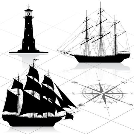 barco pirata: Conjunto de elementos de dise�o n�utico. Todas las im�genes podr�an modificarse f�cilmente. Vectores