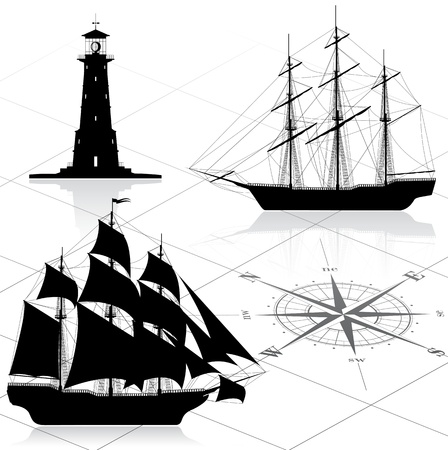 galleon: Set of nautical design elements. All images could be easy modified. Illustration