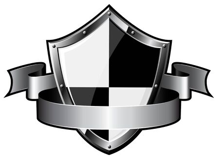 Steel shield with ribbon over white background