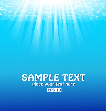 Blue underwater background with sunbeams.  Vector